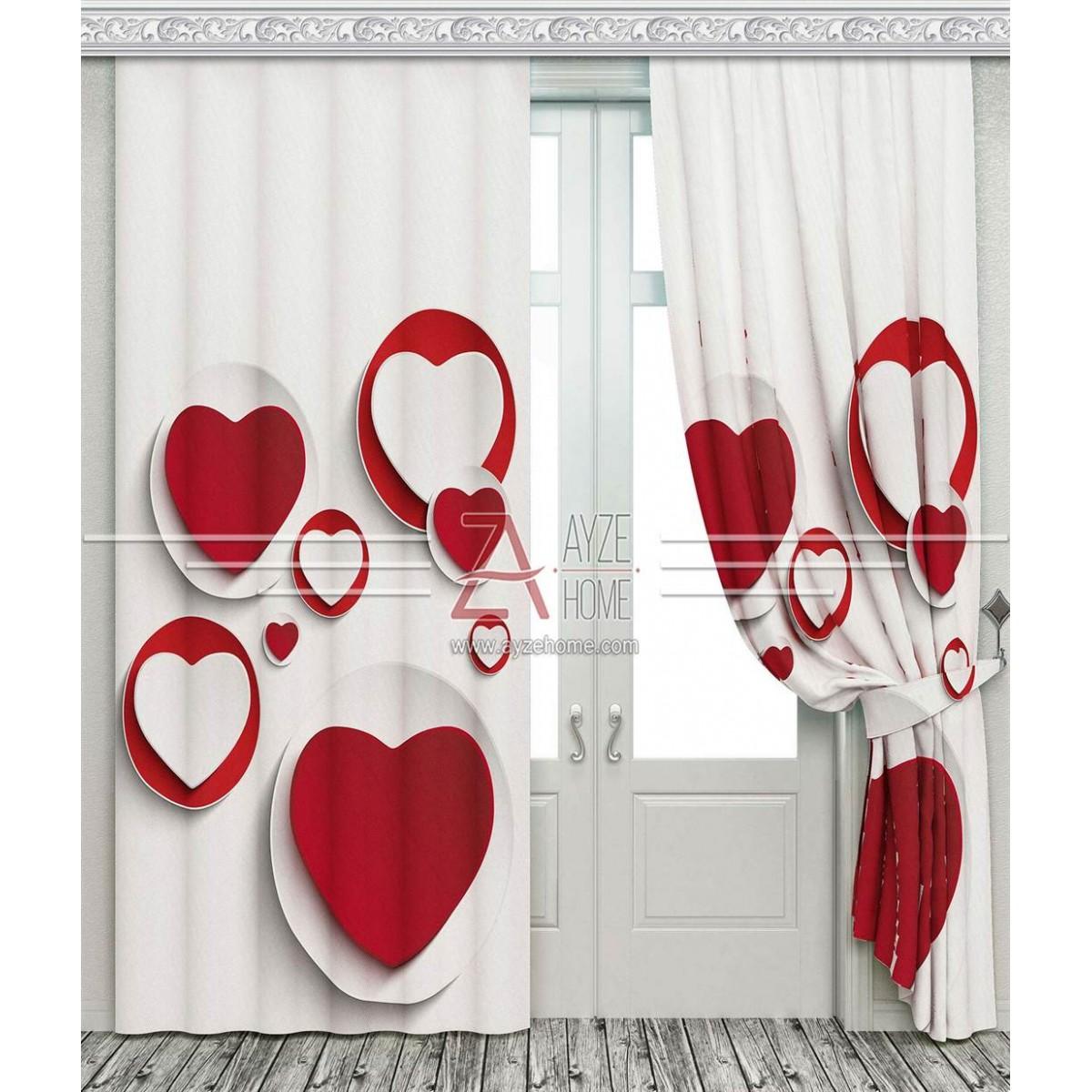 Kız Çocuk Odası - Kalpler 3D - Baskılı Fon Perde