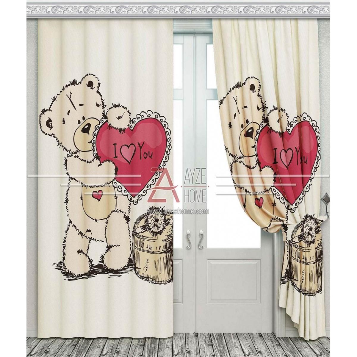 Kız Çocuk Odası - Sevimli Ayıcık ve Kalp - Baskılı Fon Perde
