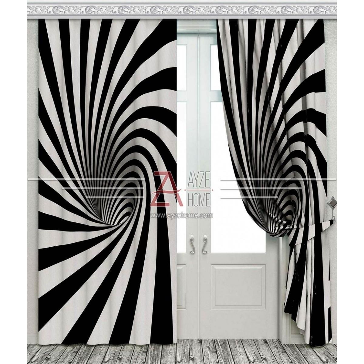 Genç Odası - Siyah Beyaz Girdap Derinlik - Baskılı Fon Perde