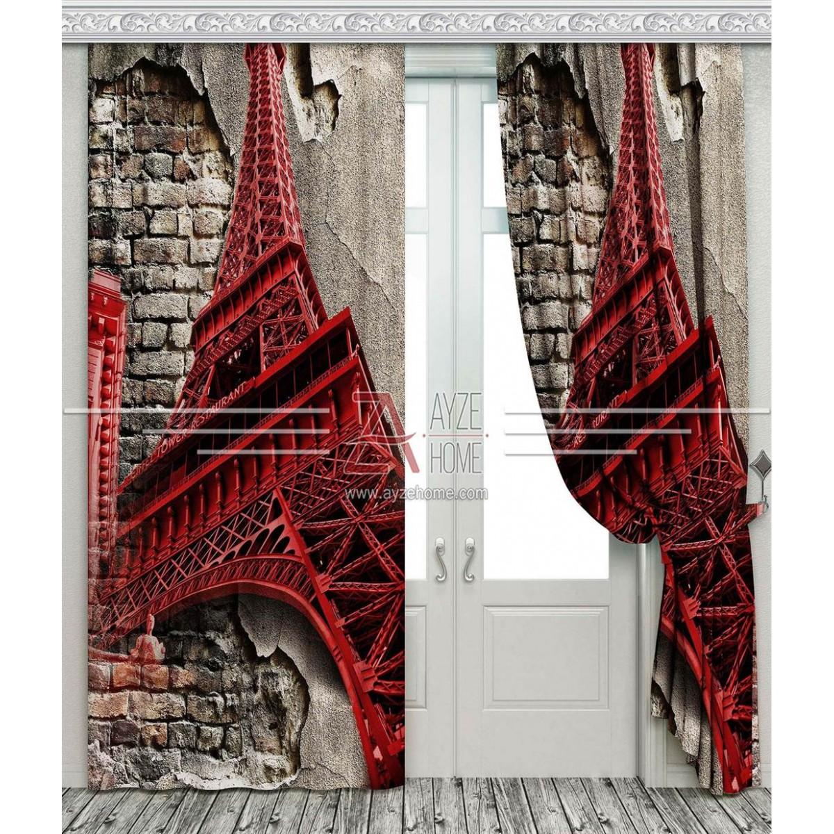Genç Odası - Paris Eyfel Kulesi - Baskılı Fon Perde