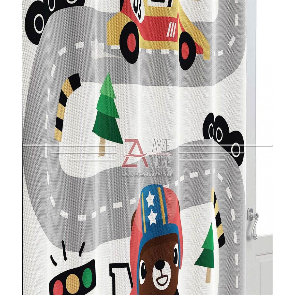 Erkek Çocuk Odası - Araba Yol Model - Baskılı Fon Perde