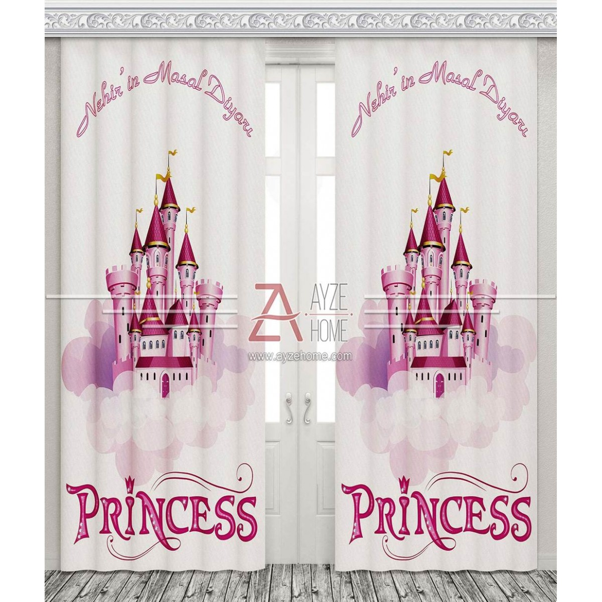 Kız Çocuk Odası - Prensesin Şatosu - Baskılı Fon Perde