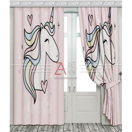 Bebek Odası - Unicorn - Baskılı Fon Perde