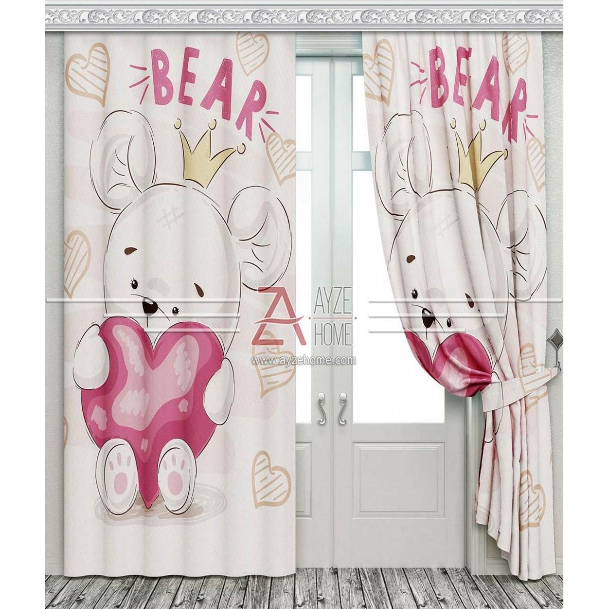 Bebek Odası - Ayıcık ve Kalp - Baskılı Fon Perde
