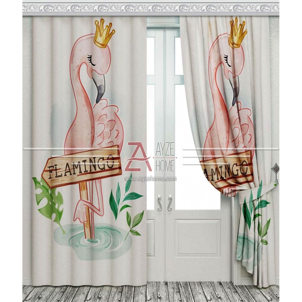 Çocuk Odası - Sevimli Flamingo - Baskılı Fon Perde