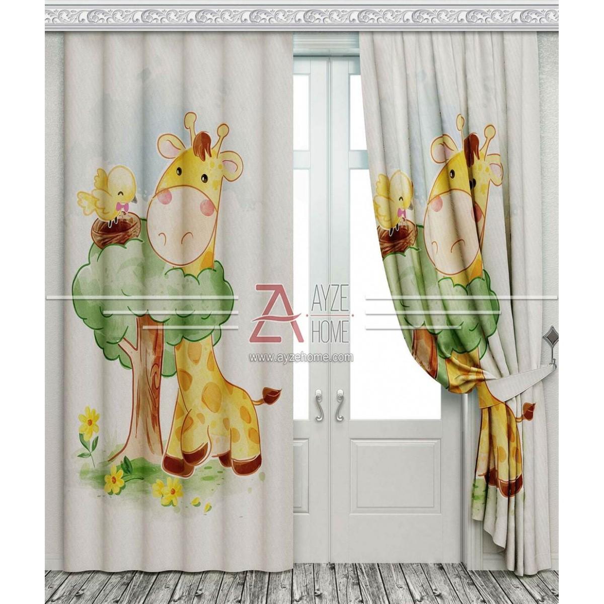 Çocuk Odası - Sevimli Zürafa Ve Kuş - Baskılı Fon Perde