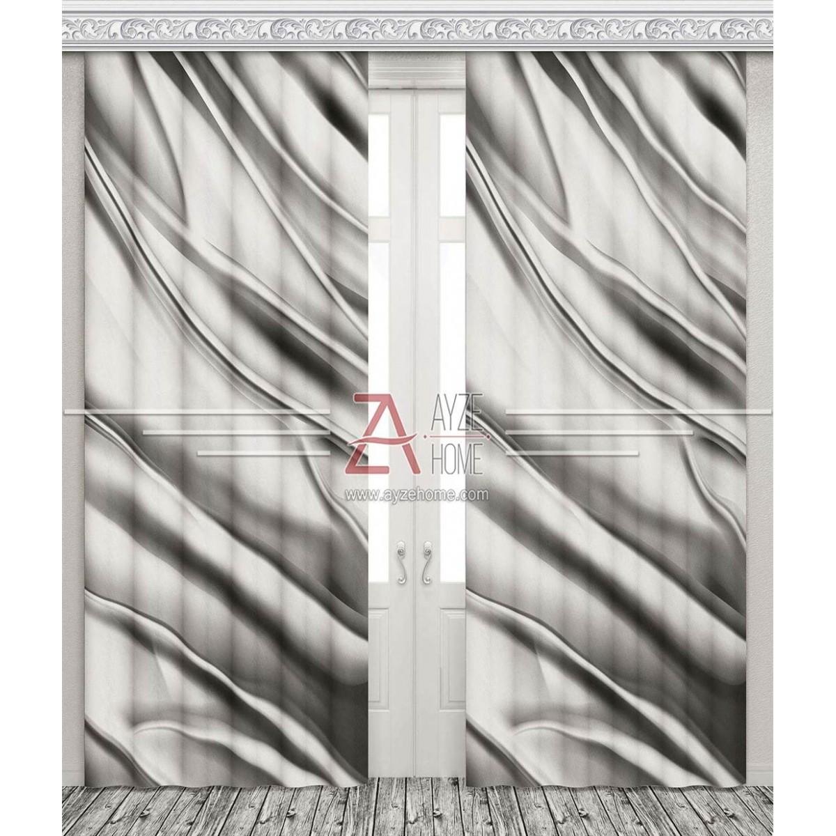 Salon - Gümüş Desen - Baskılı Fon Perde