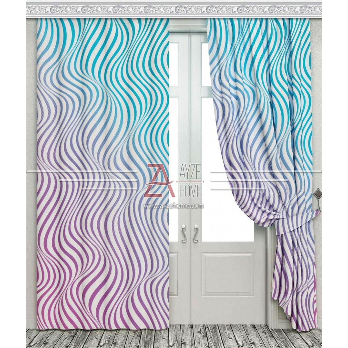 Salon - Renkli Dalga - Baskılı Fon Perde