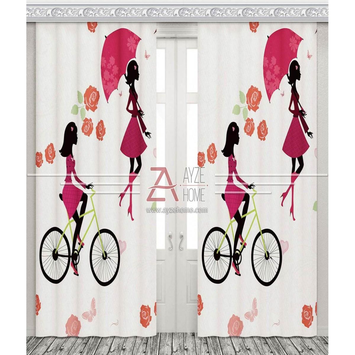 Şirin Kız Ve Yeşil Bisikleti - Baskılı Fon Perde