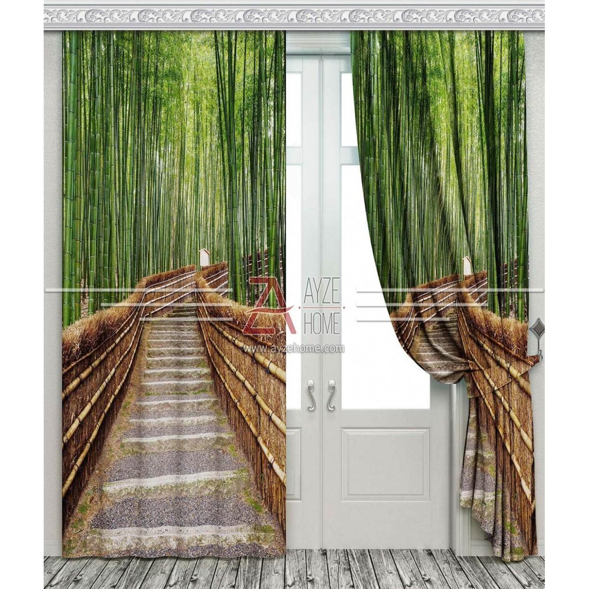 Salon - Bambu Ağaçları Yol Derinlik - Baskılı Fon Perde