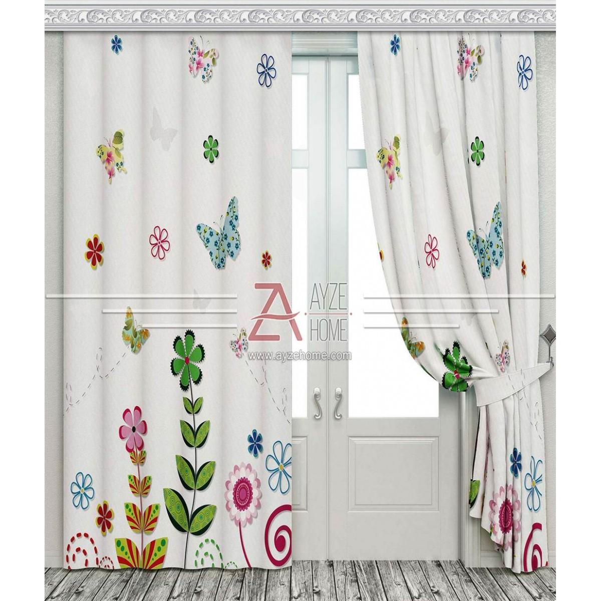 Bebek Odası - Kelebekler ve Çiçekler - Baskılı Fon Perde