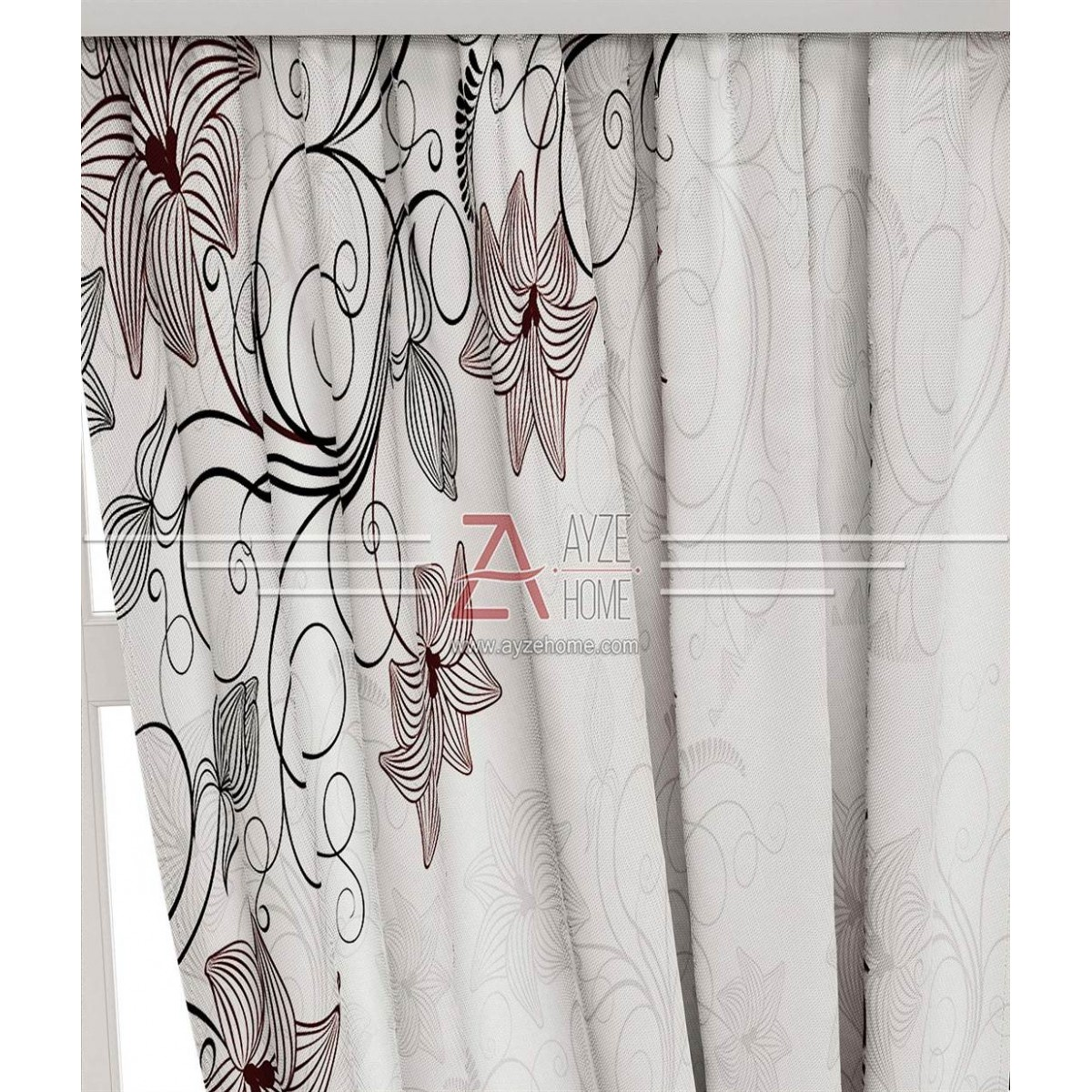 Yatak Odası - Çiçekler Vektör - Baskılı Fon Perde