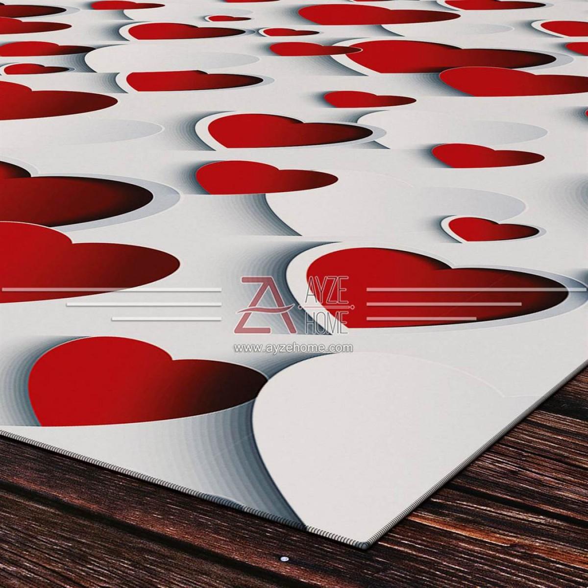 Kız Çocuk Odası - 3D Kalpler Baskılı Halı