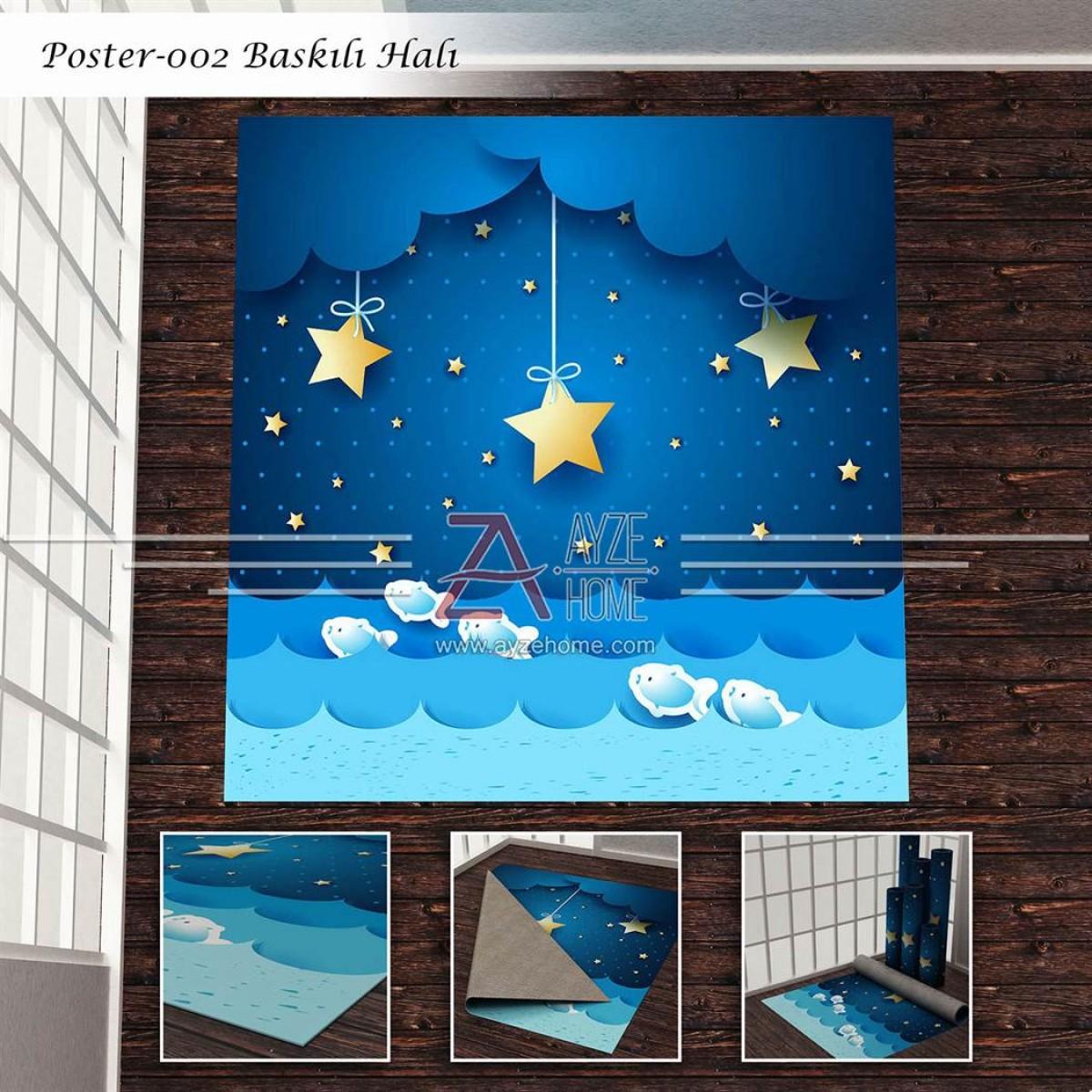 Bebek Odası - Yıldızlar ve  Balıklar Baskılı Halı