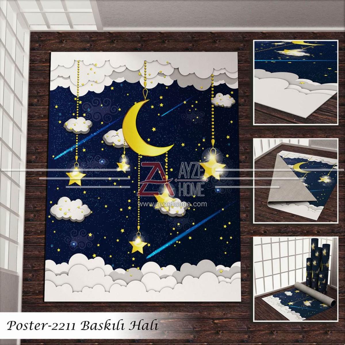 Bebek Odası - Gece Ay ve Bulutlar Baskılı Halı