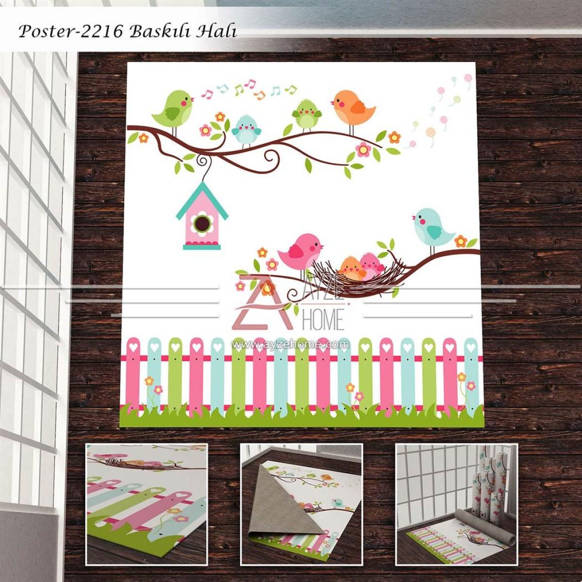 Bebek Odası - Kuşlar ve Çitler Vektör Baskılı Halı