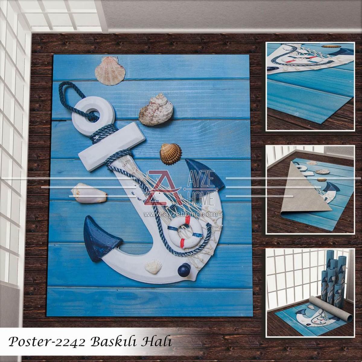 Erkek Çocuk Odası - Denizci  Baskılı Halı