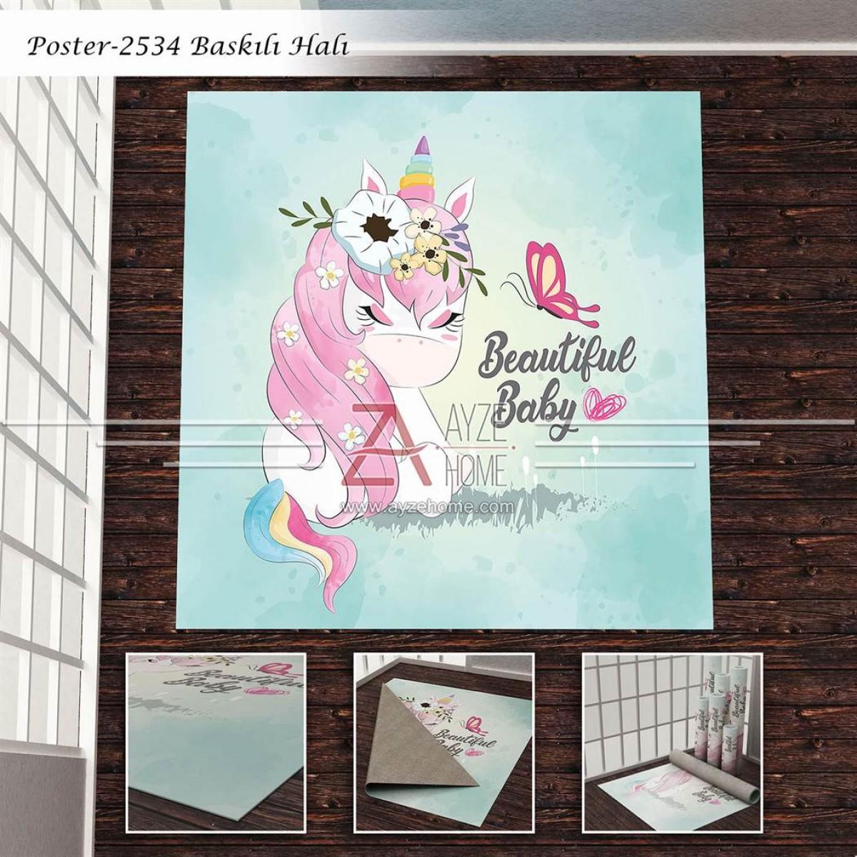 Bebek Odası - Unicorn Baskılı Halı