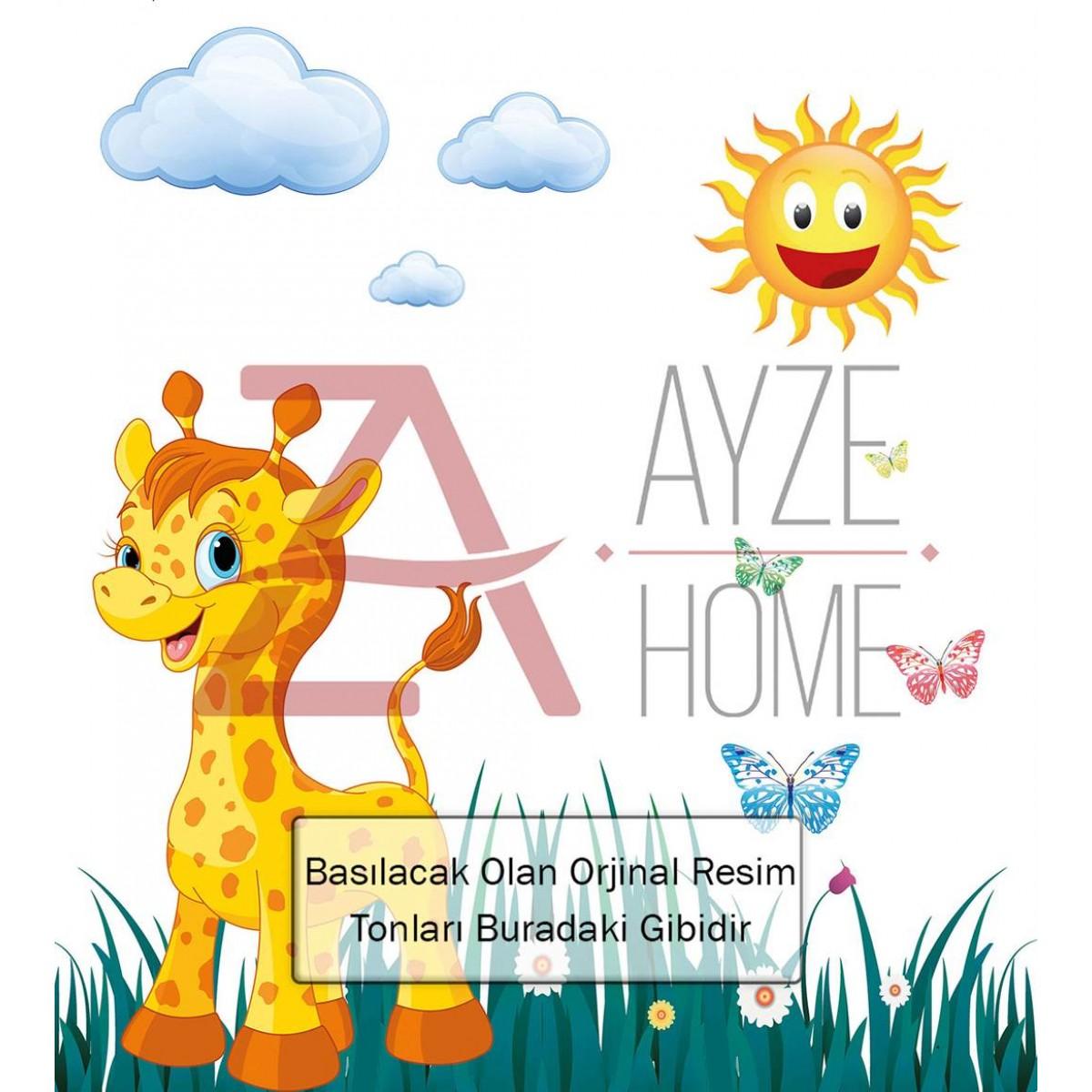 Çocuk - Bebek Odası - Sevimli Zürafa Ve Güneş Baskılı Halı