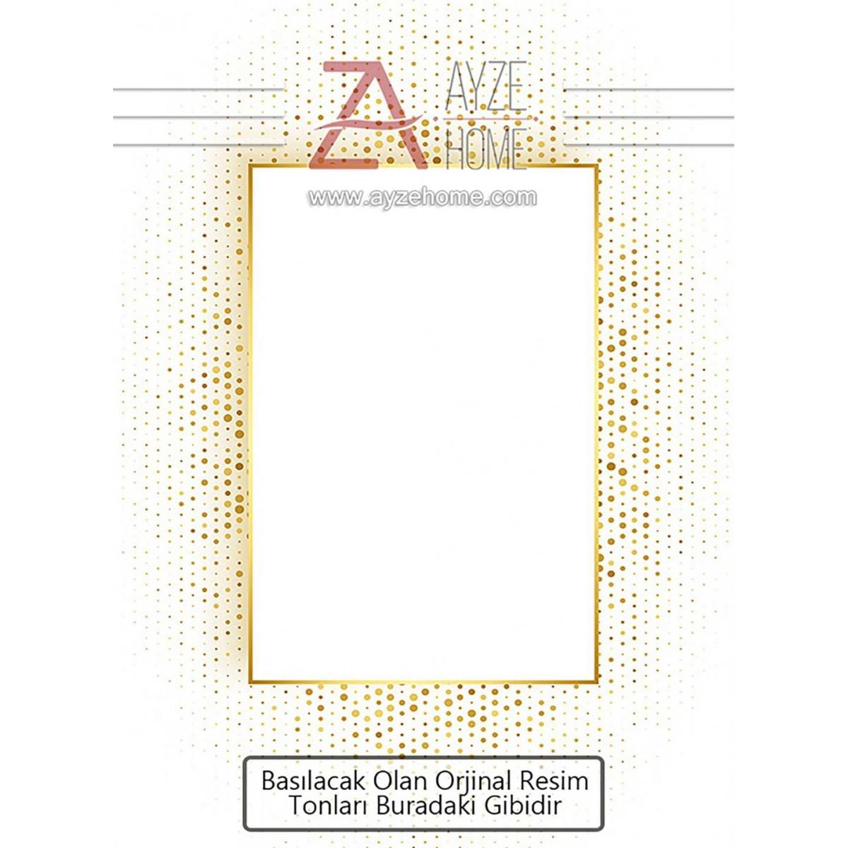 Salon - Sarı Dikdörtgen Ve Sarı Benek Baskılı Halı