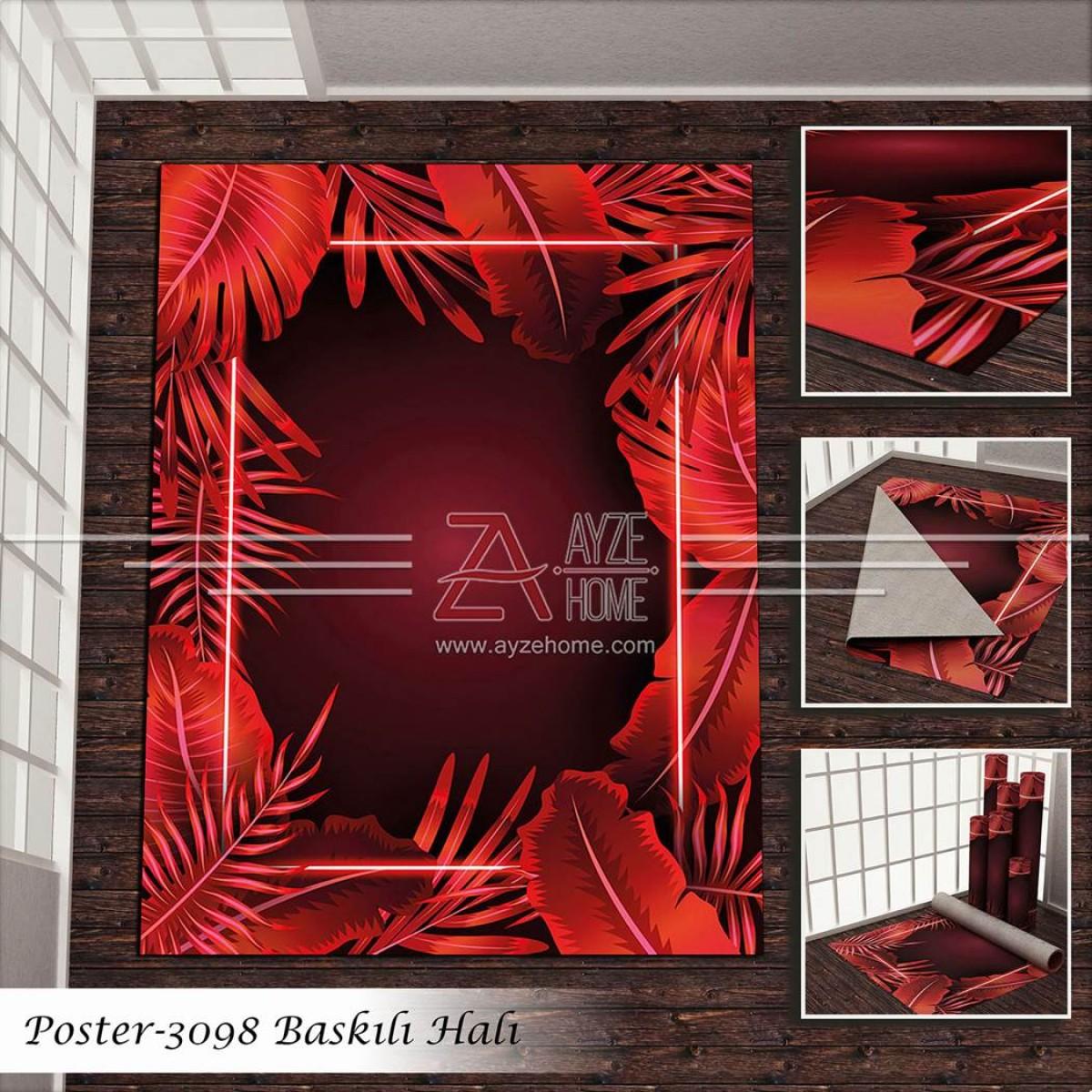 Salon - Kırmızı Dikdörtgen Ve Yaprak Baskılı Halı