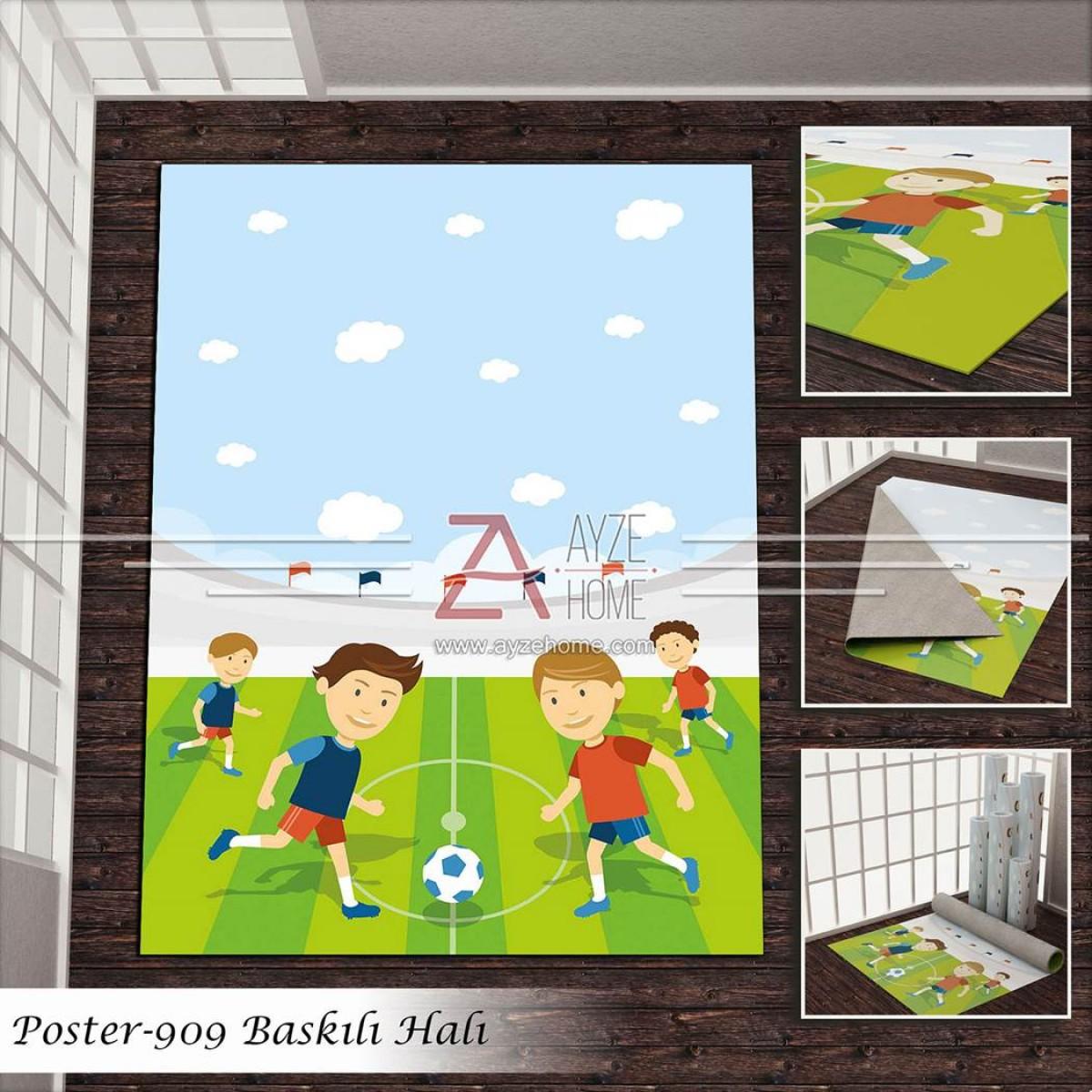 Bebek Odası - Futbolcu Çocuklar Baskılı Halı