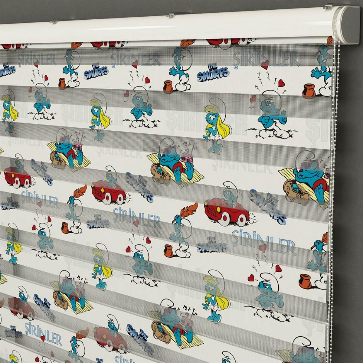 Bebek Odası -  Şirinler  Baskılı Zebra Perde