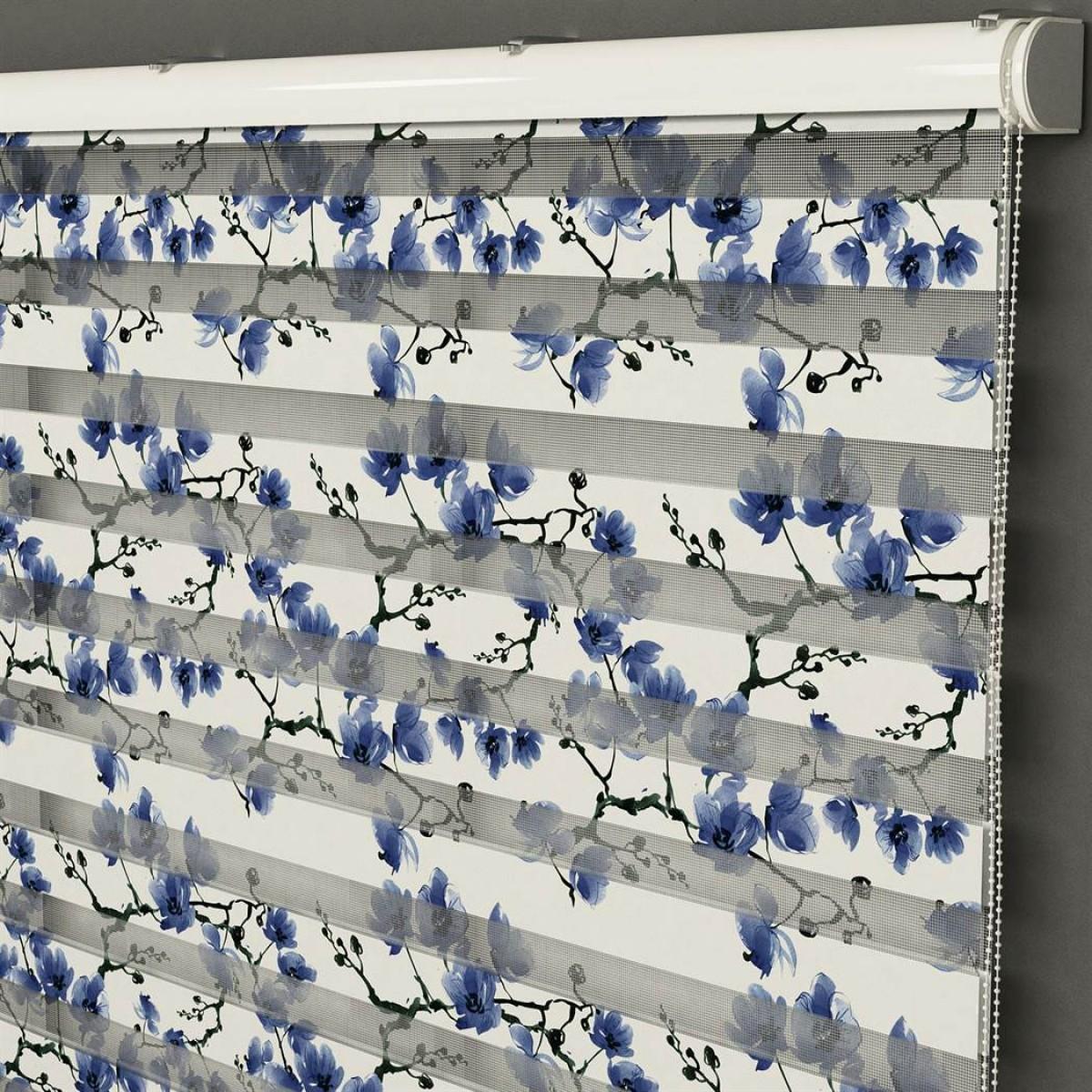 Mutfak -  Suluboya Mavi Çiçekler Baskılı Zebra Perde