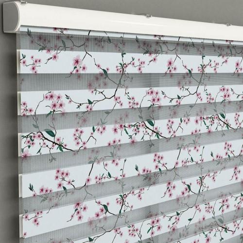 Mutfak -  Pembe Çiçekler ve Dallar Baskılı Zebra Perde