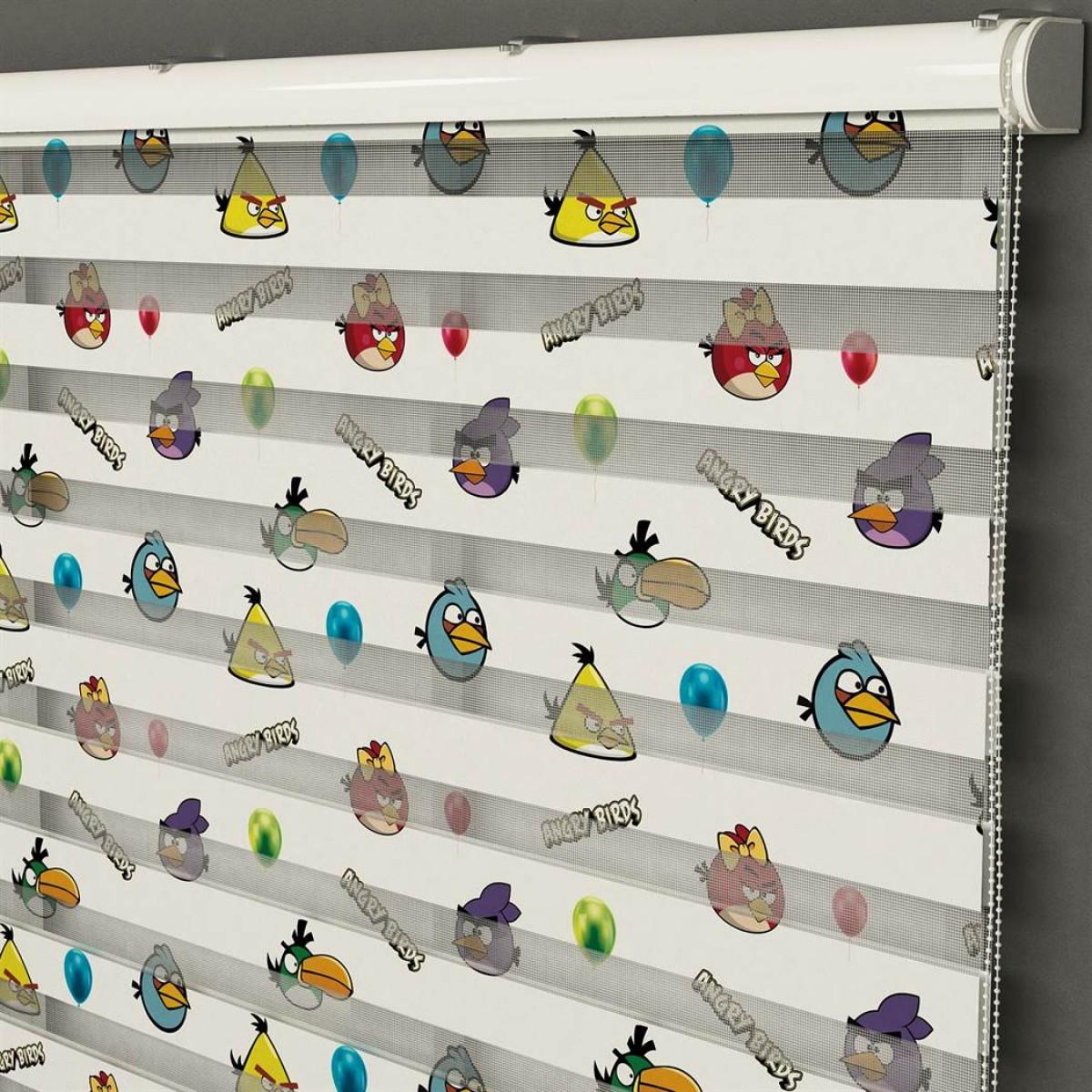 Bebek Odası -  Angry Birds Baskılı Zebra Perde