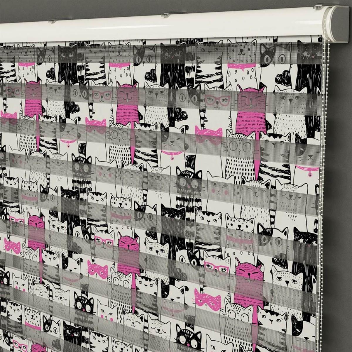 Bebek Odası -  Çocuk ve Kediler Baskılı Zebra Perde