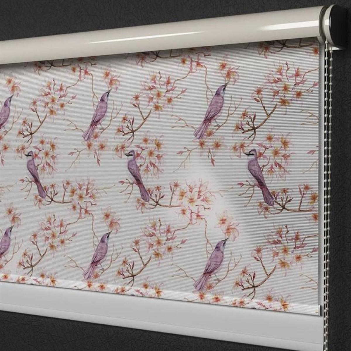 Pembe Çiçek ve Kuşlar Baskılı Tül&Stor Perde