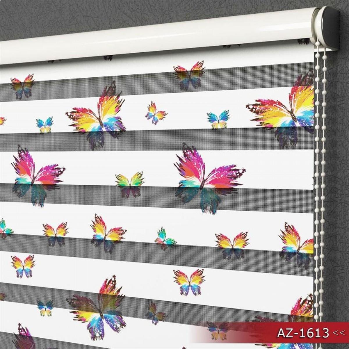 Mutfak - Renkli Kelebekler Desen Baskılı Zebra Perde