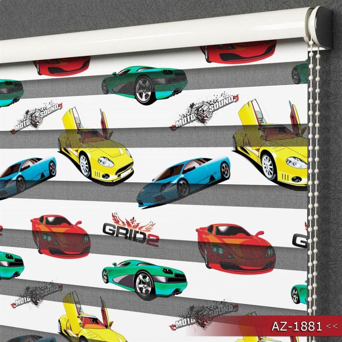 Erkek Çocuk Odası - Spor Arabalar Desen Baskılı Zebra Perde