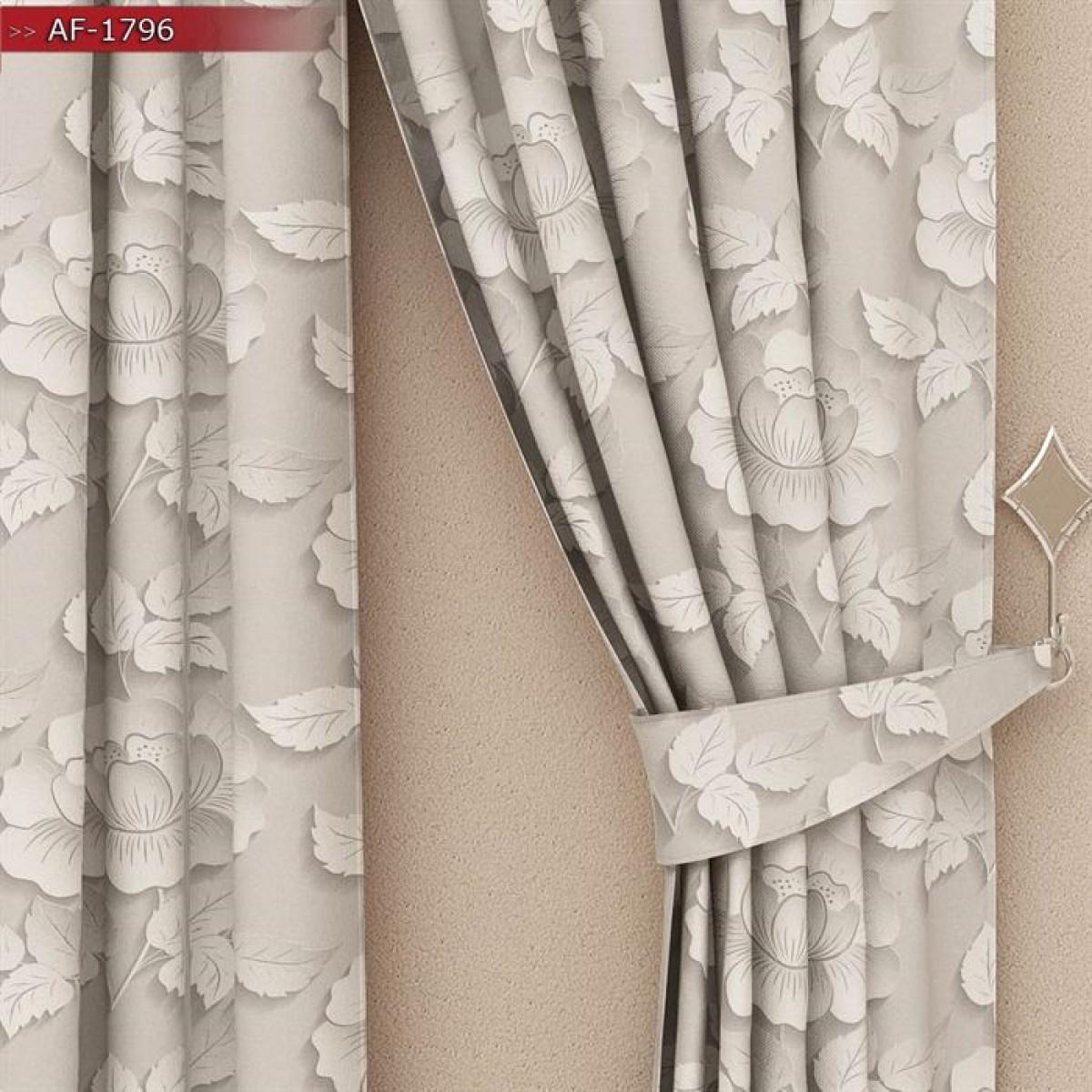 Salon - Mutfak - 3D Kabartmalı Çiçek Baskılı Fon Perde