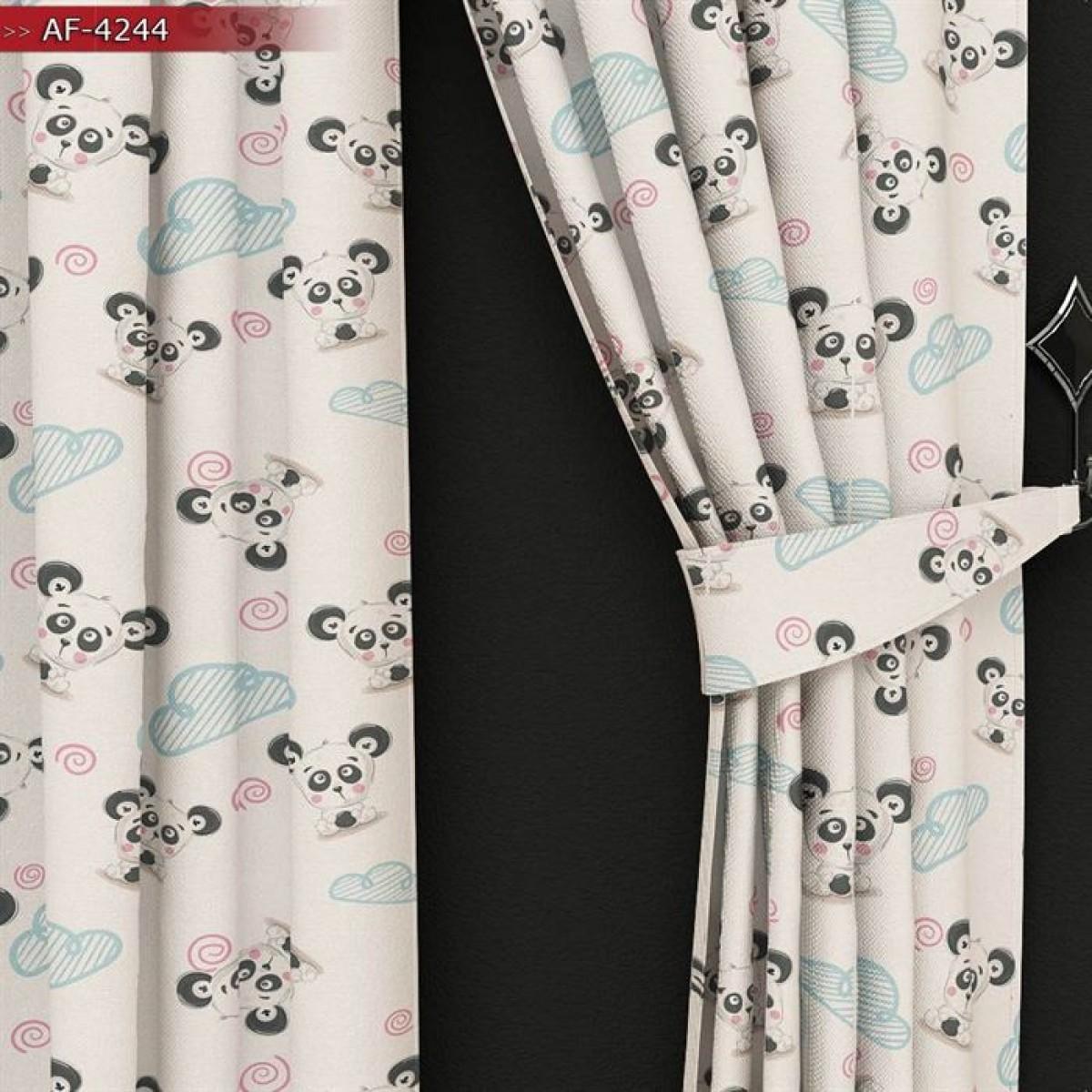 Bebek Odası - Sevimli Panda Baskılı Fon Perde