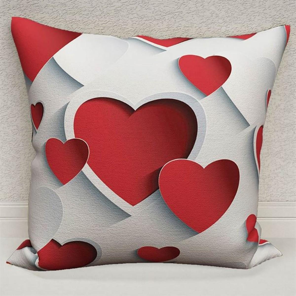 Kız Çocuk Odası - 3D Kalpler  Baskılı Kırlent Kılıfı (Çift Taraflı)