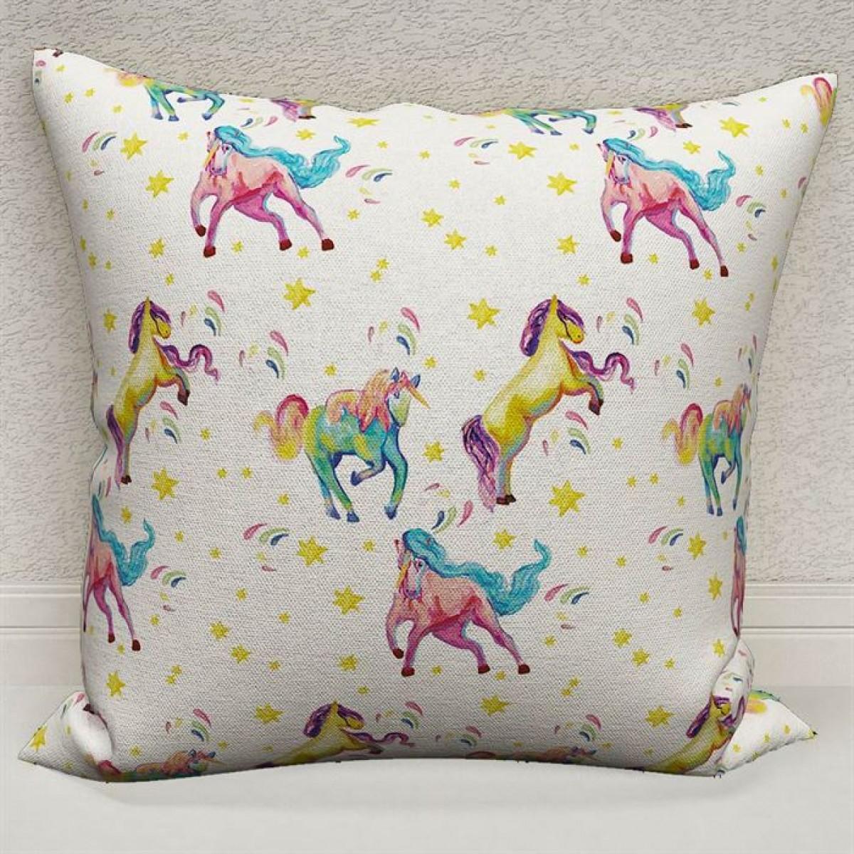 Bebek Odası - Unicorn Atlar  Baskılı Kırlent Kılıfı (Çift Taraflı)