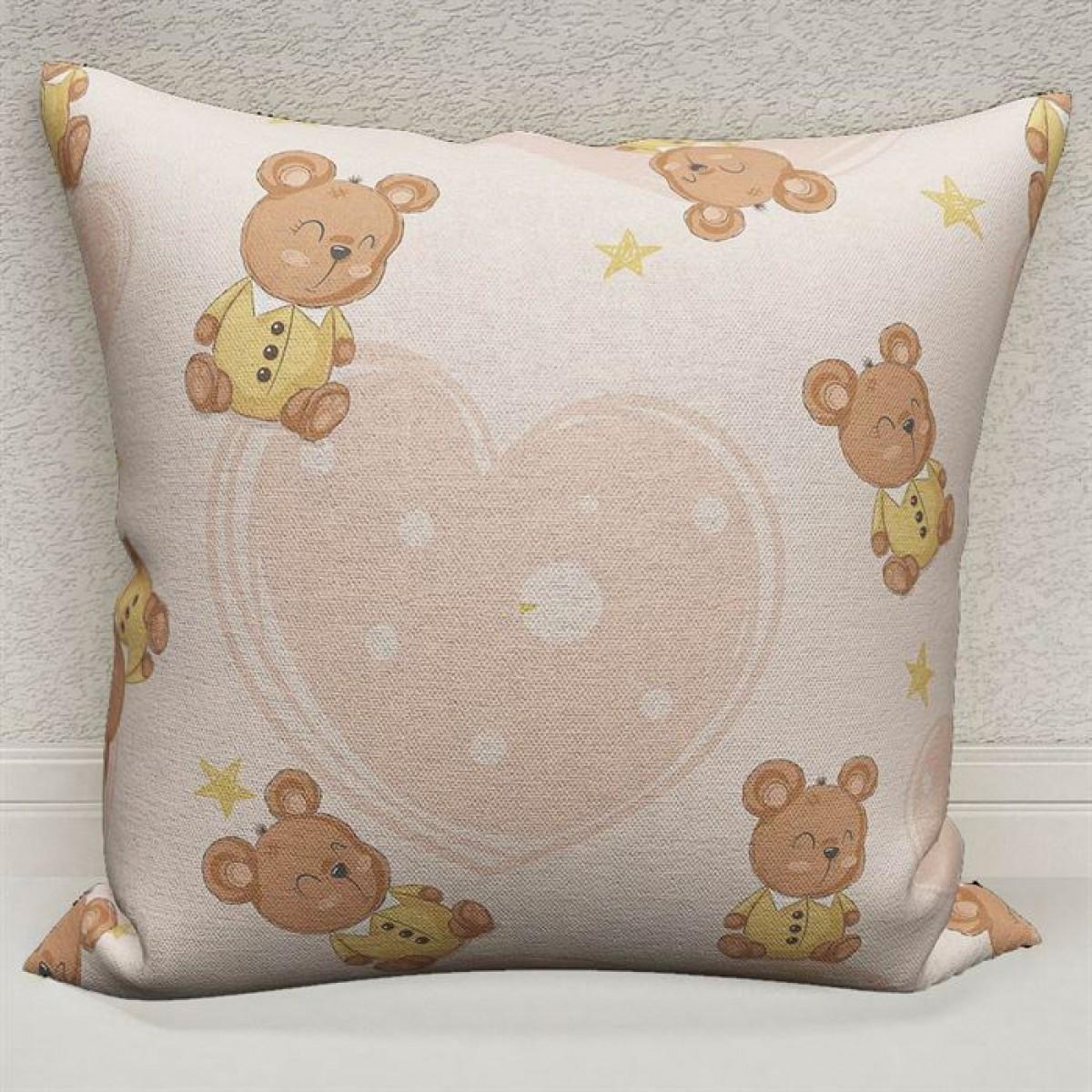 Bebek Odası - Sevimli Hayvanlar  Baskılı Kırlent Kılıfı (Çift Taraflı)