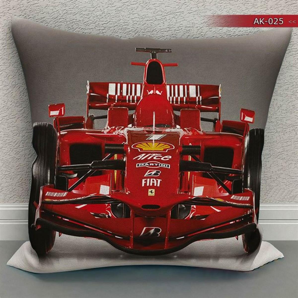 Genç Odası - F1 Ferrari  Baskılı Kırlent Kılıfı (Çift Taraflı)