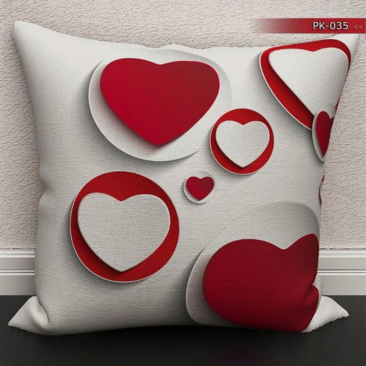 Kız Çocuk Odası - Kalpler 3D  Baskılı Kırlent Kılıfı (Çift Taraflı)