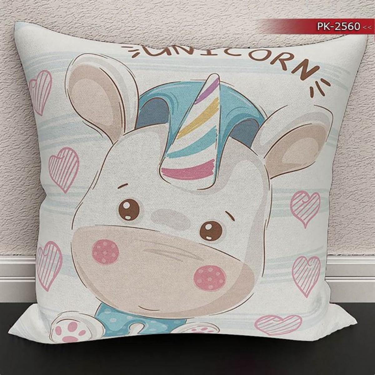 Bebek Odası - Unicorn  Baskılı Kırlent Kılıfı (Çift Taraflı)