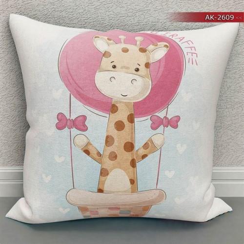 Bebek Odası - Uçan Zürafa  Baskılı Kırlent Kılıfı (Çift Taraflı)