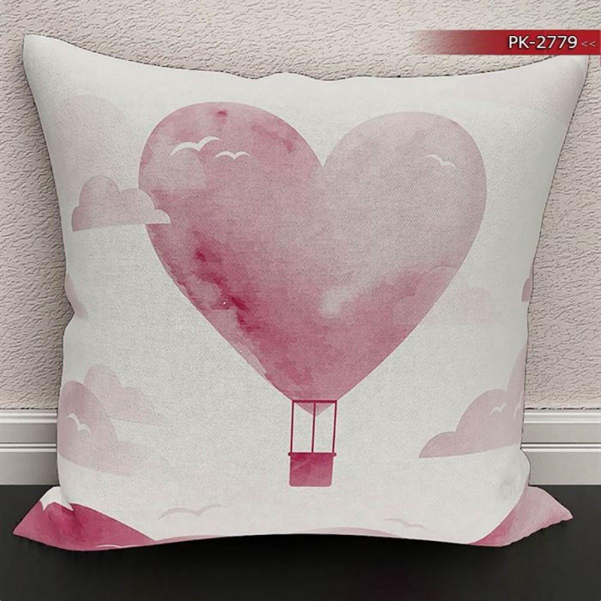 Bebek Odası - Kalp Balon  Baskılı Kırlent Kılıfı (Çift Taraflı)
