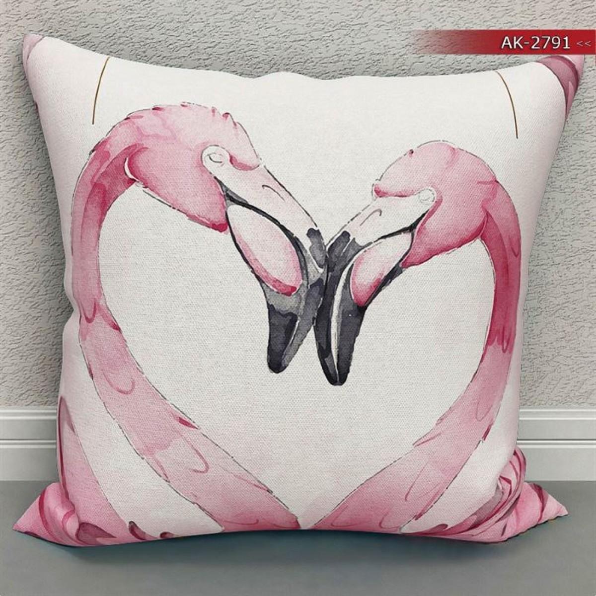 Bebek Odası - Flamingolar  Baskılı Kırlent Kılıfı (Çift Taraflı)