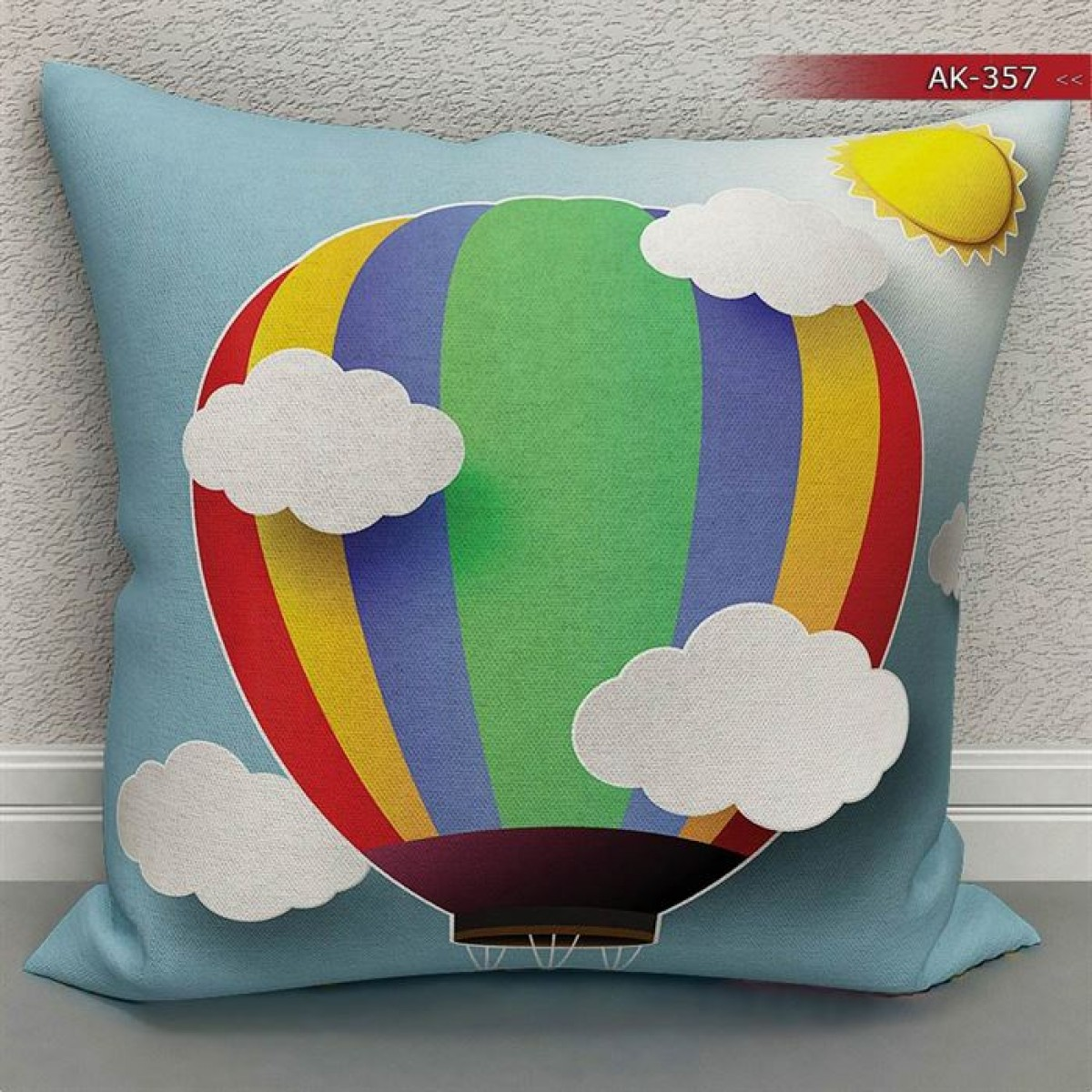 Bebek Odası - Balon Vektör  Baskılı Kırlent Kılıfı (Çift Taraflı)