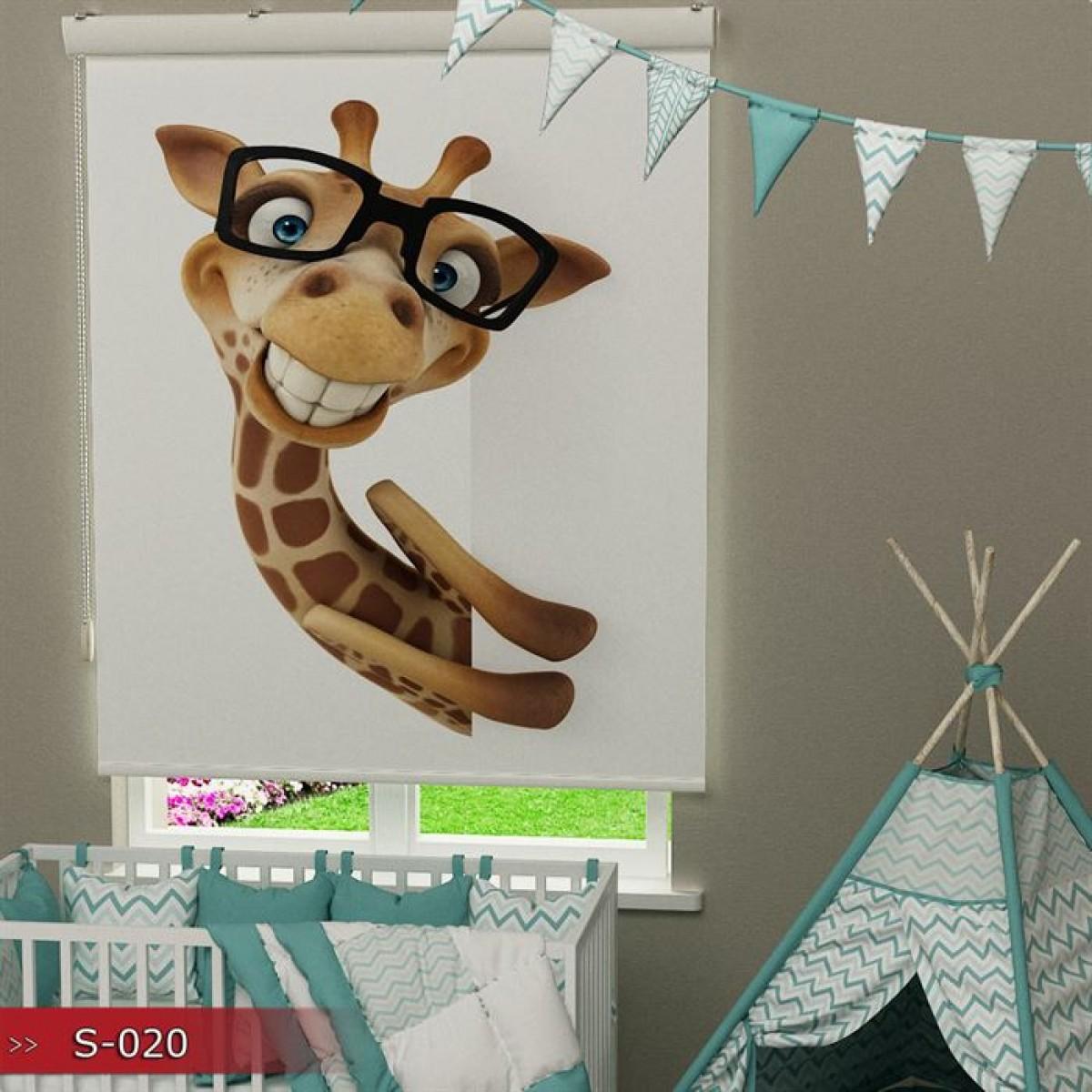 Kız Çocuk Odası - Şirin Zürafa Baskılı Stor Perde - (GÜNEŞLİK)