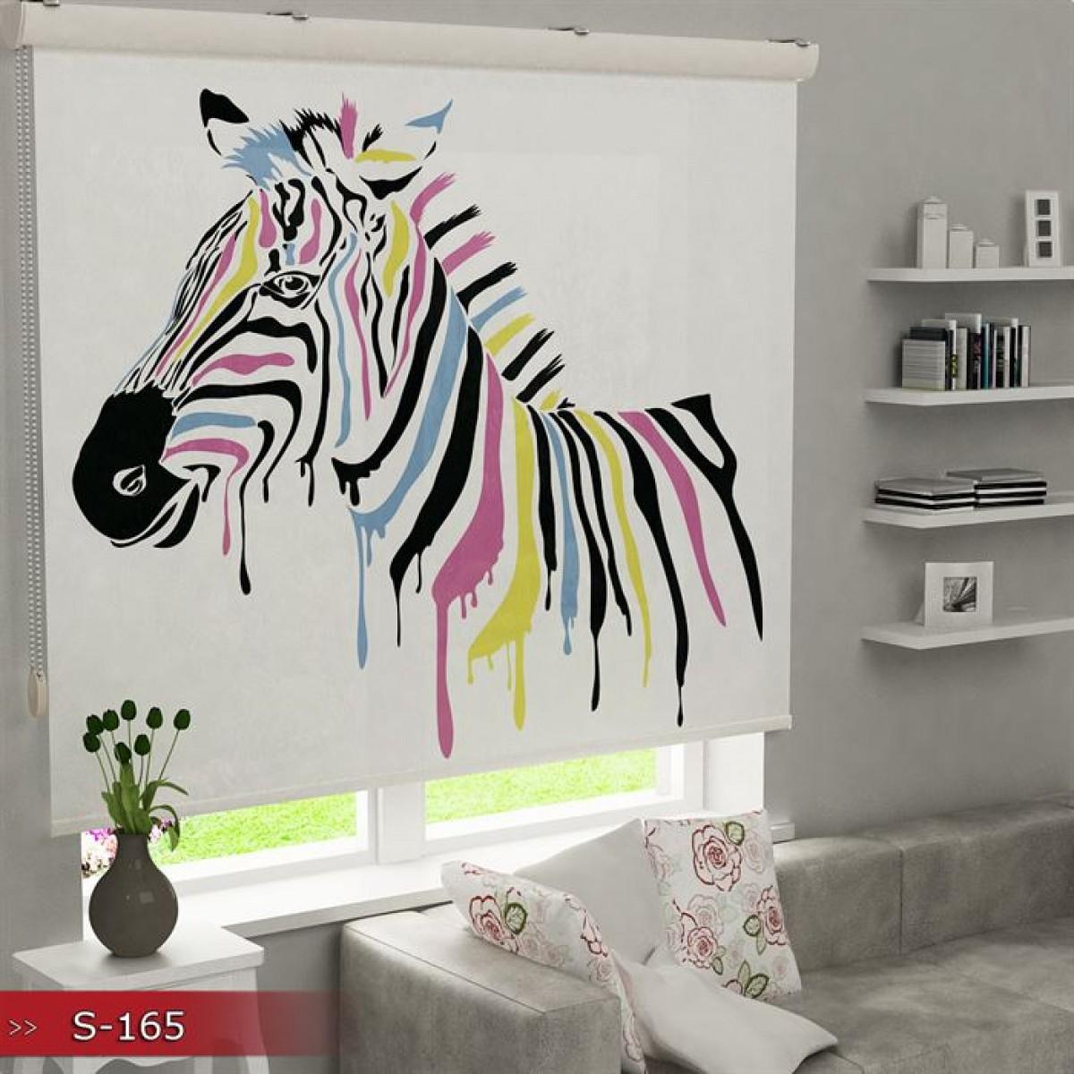 Genç Odası - Renkli Zebra Vektör Baskılı Stor Perde - (GÜNEŞLİK)