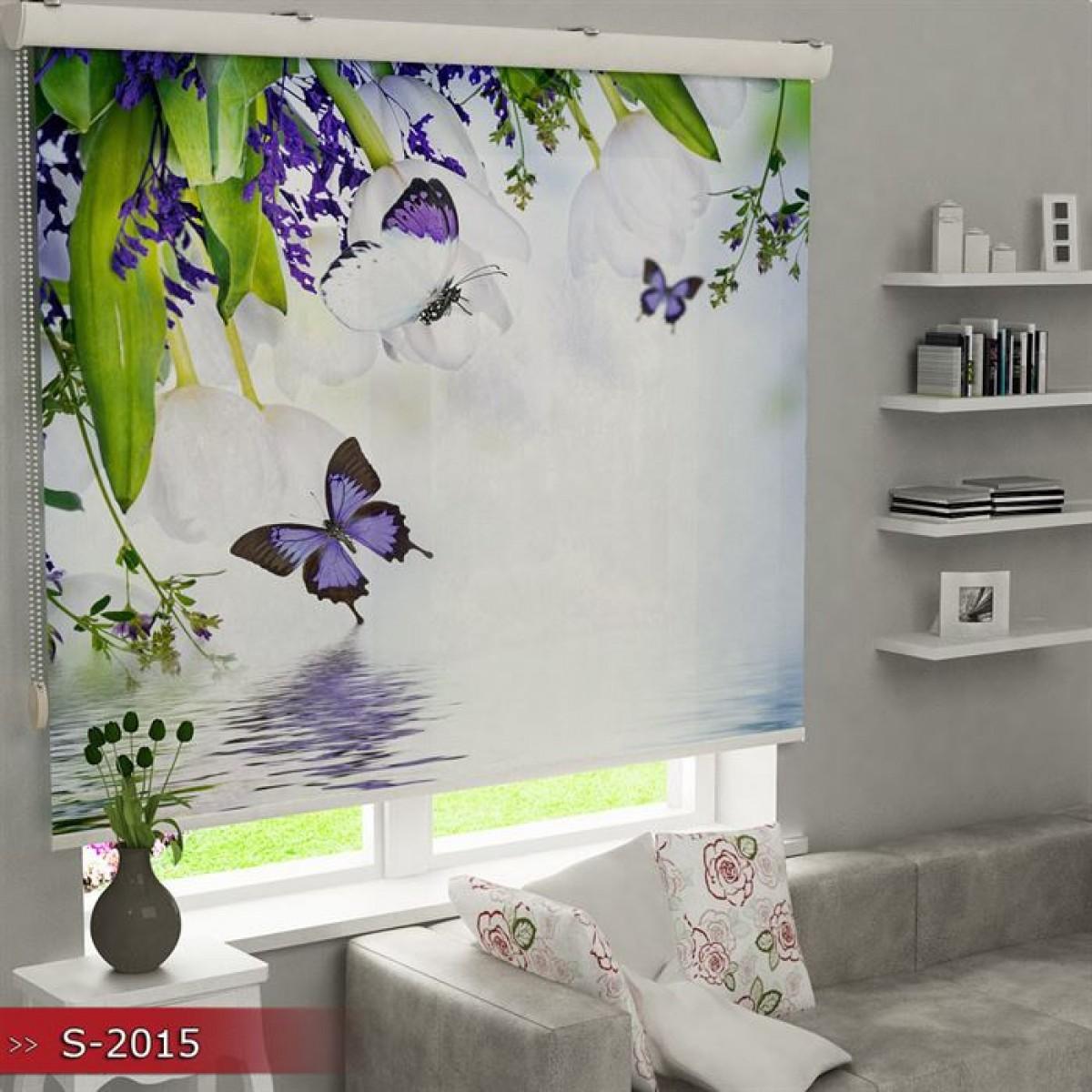 Mutfak - Kelebekler ve Çiçekler Baskılı Stor Perde - (GÜNEŞLİK)