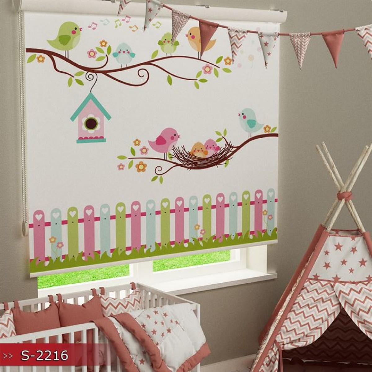 Bebek Odası - Kuşlar ve Çitler Vektör Baskılı Stor Perde - (GÜNEŞLİK)